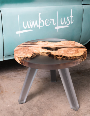 """Maple Burl Clear Smoke Resin 24"""" End Table"""