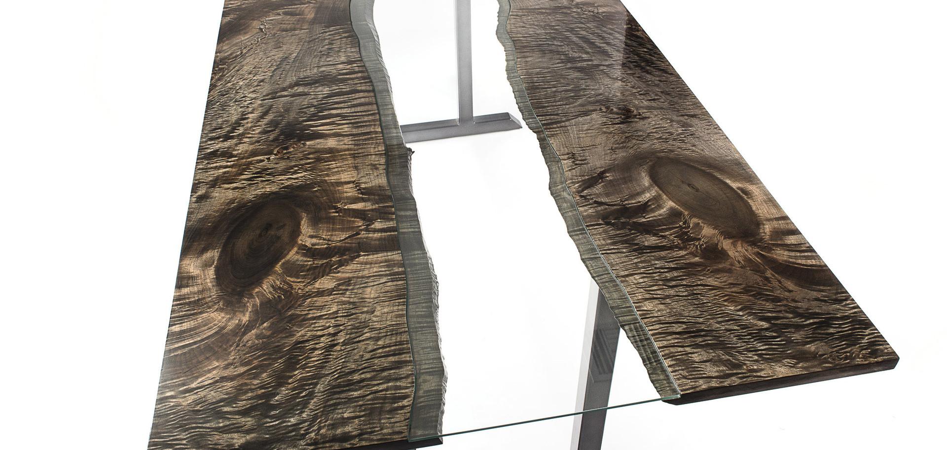 Ebonized Maple Glass Inlay Live Edge River Table
