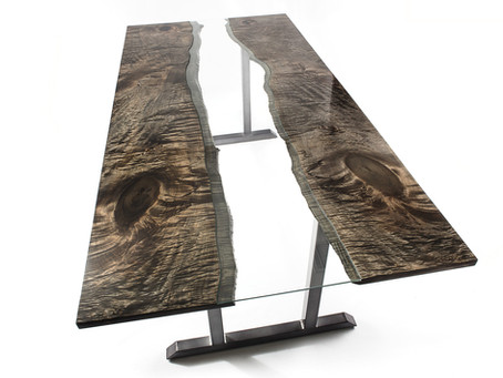 Bookmatched Ebonized Maple River Dining Table