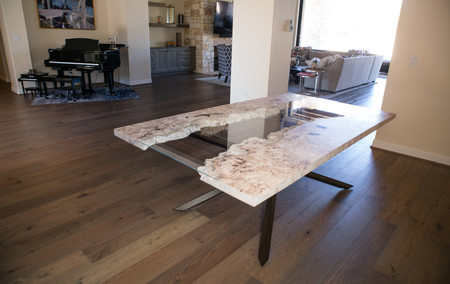 Modern white wood live edge burl and glass dining table