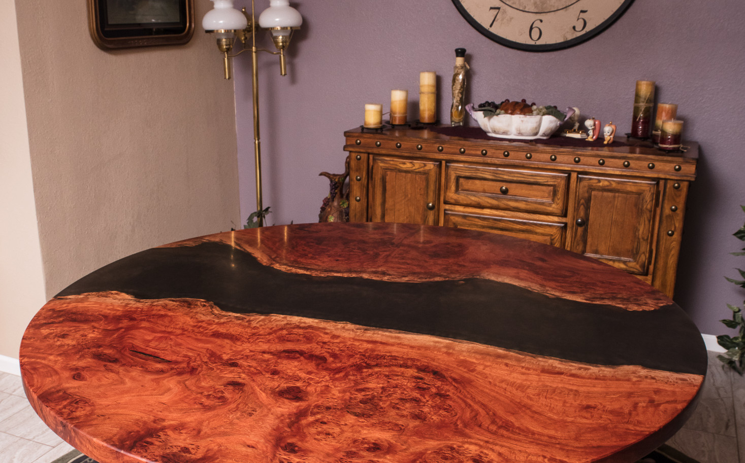 """58"""" Round Red Gum Burl Epoxy River Dining Table"""