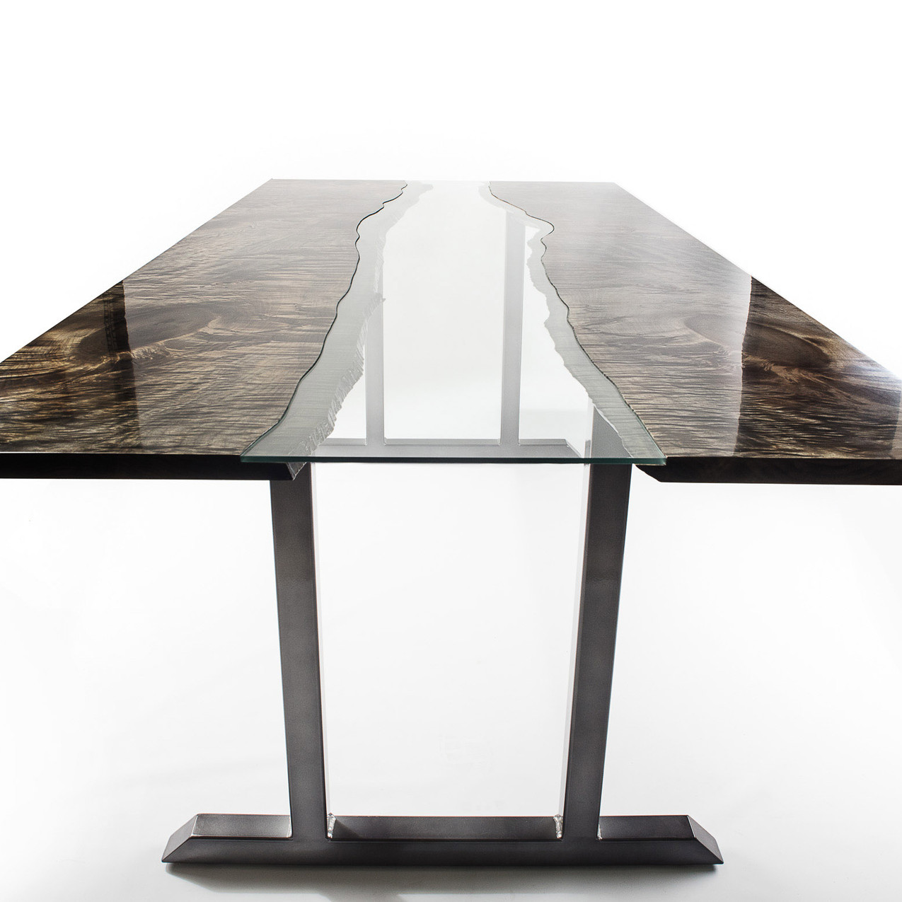 ebonized maple river table, glass inlaid in wood and steel cantilever frame. Organic Modern furniture