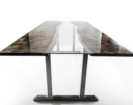 Modern Dining Table high gloss wood glass steel