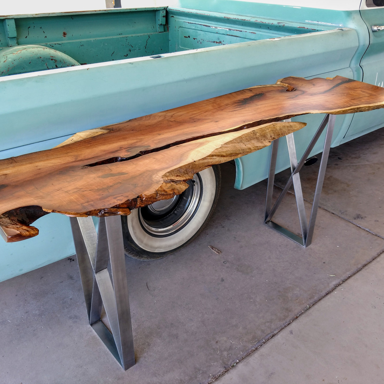 mesquite natural edge rustic modern reclaimed  sofa table