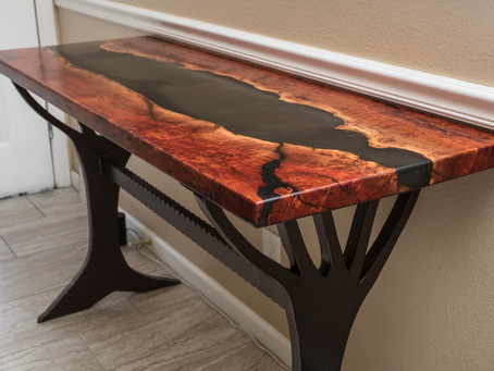 "Red Gum Resin River Console + 27"" End Table"