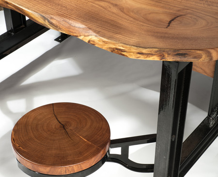 Mesquite Live Edge Industrial Dining Table w/ Stools