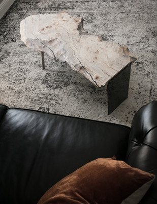 White Waxed Maple Burl Live Edge Coffee Table on smoked lucite legs