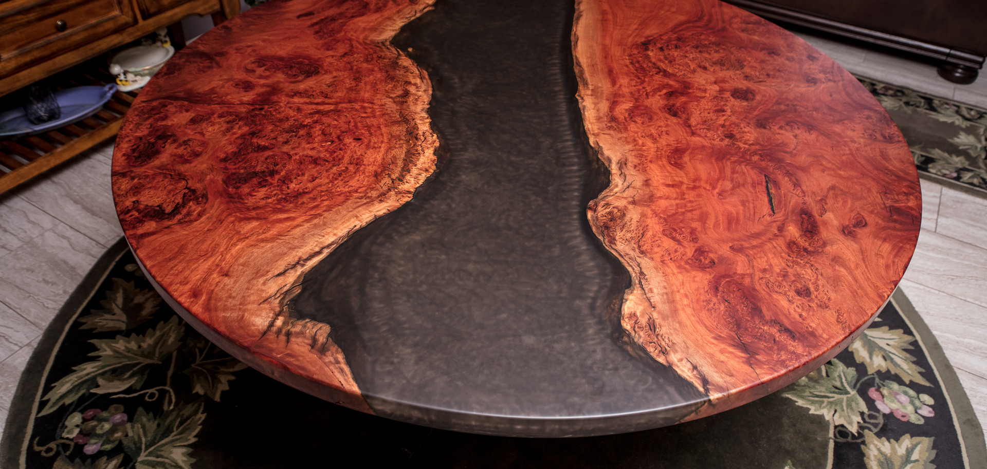 """58"""" Round Red Gum Burl Resin River Dining Table"""