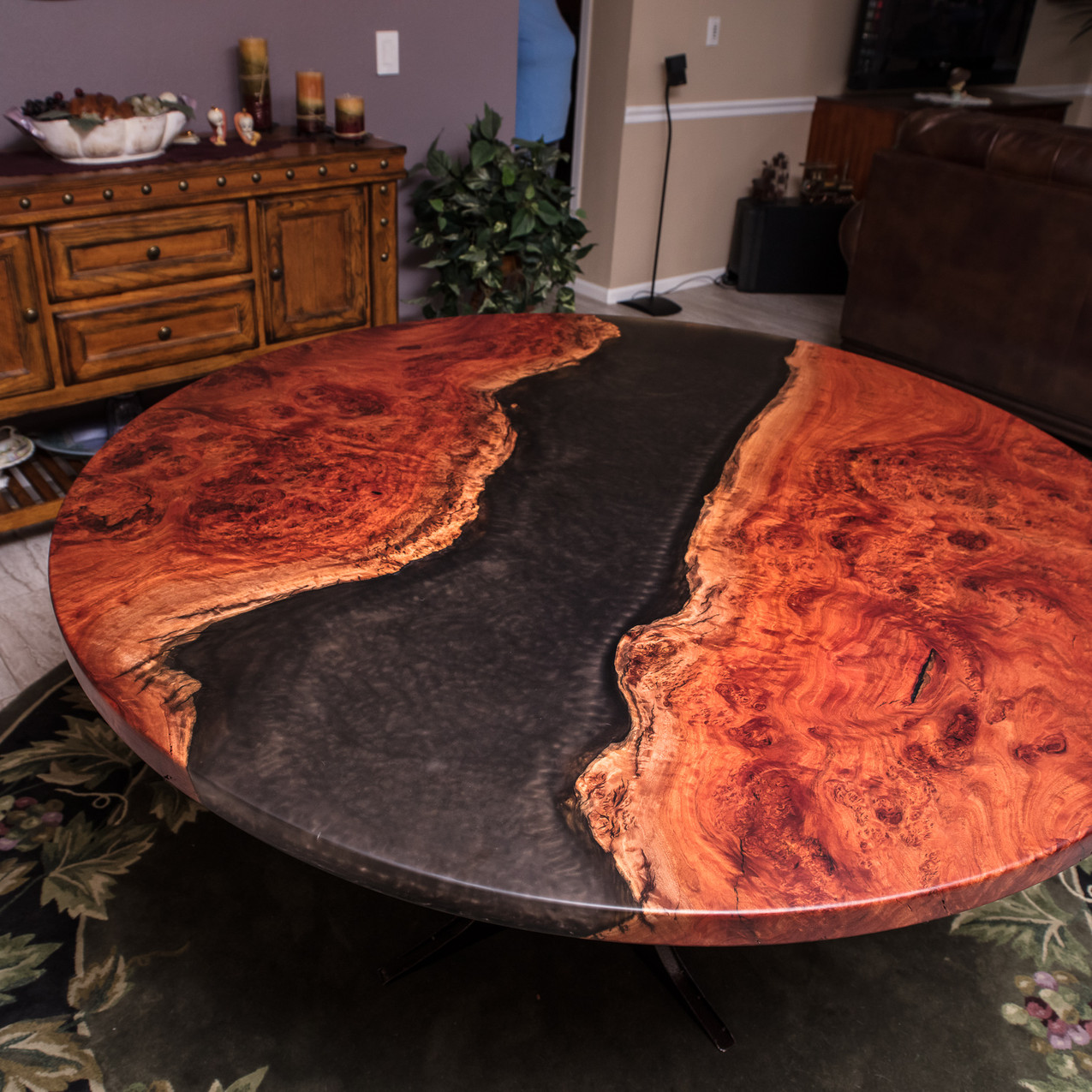 """We created this one of a kind rustic modern resin river live edge dining table from reclaimed urban Eucalyptus Red Gum burl slabs with """"space resin"""" pigment obre-clear resin river art feature."""