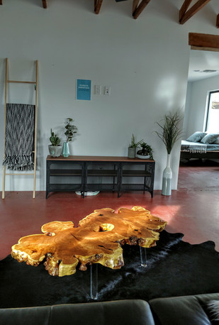 Mesquite Burl on Lucite Modern Live Edge Coffee Table