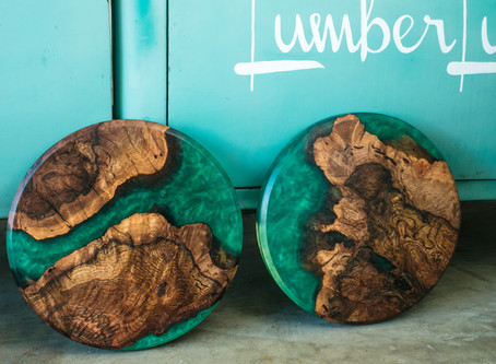 Black Cherry Burl w/ Emerald Green Epoxy Resin Art Tables Tops