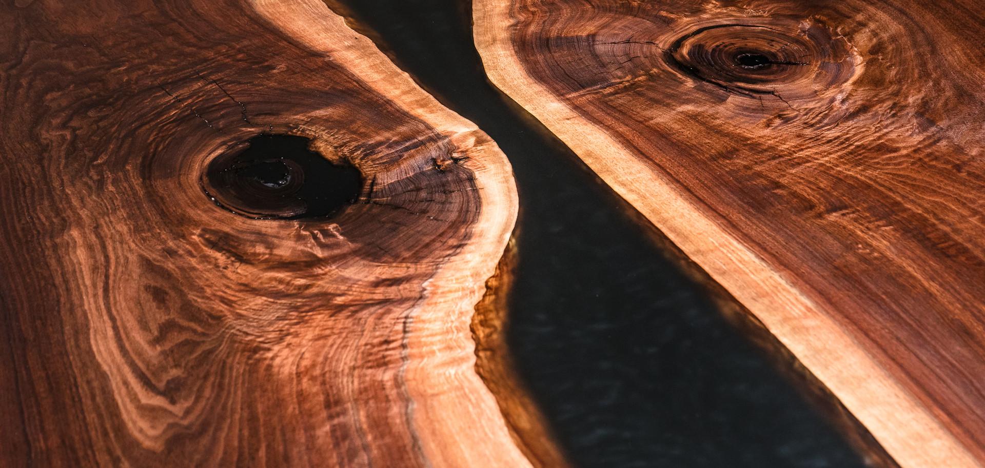 Luxury river dining table smoke resin in Walnut