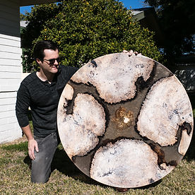 "42"" Round Maple Burl White Wax Live Edge Islands cast in Clear gold shimmer epoxy resin custom dining table art furniture"