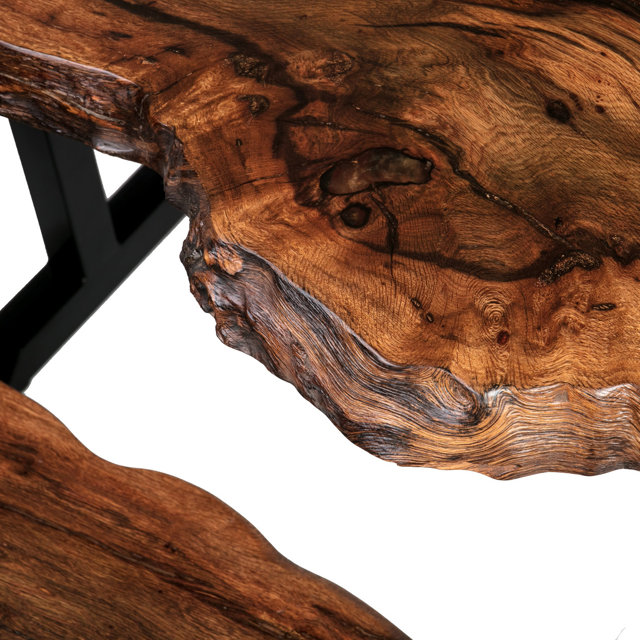 live edge black cherry with quartersawn grain and copper resin details