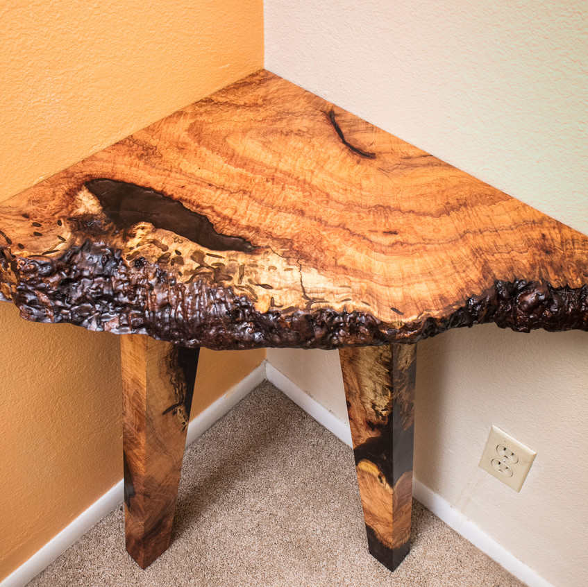 Mesquite wood and resin art live edge corner table