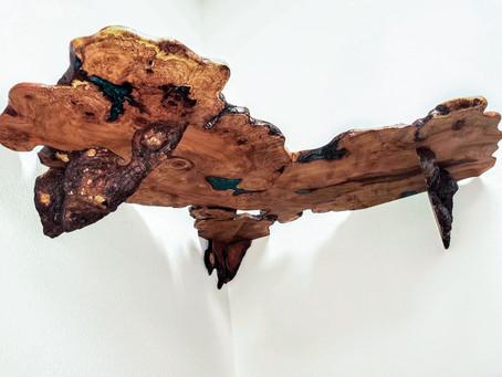 Mesquite Burl Live Edge Rustic Built-In L-Corner Desk