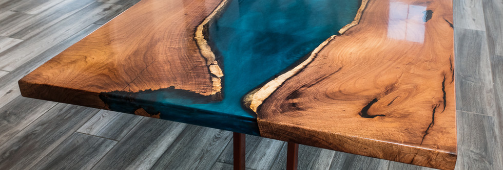 Mesquite Resin River Live Edge Dining Table