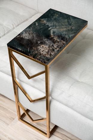 Ebonized Maple with Brass Chevron Frame C Table