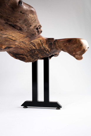 Burl Detail on thick live edge bench