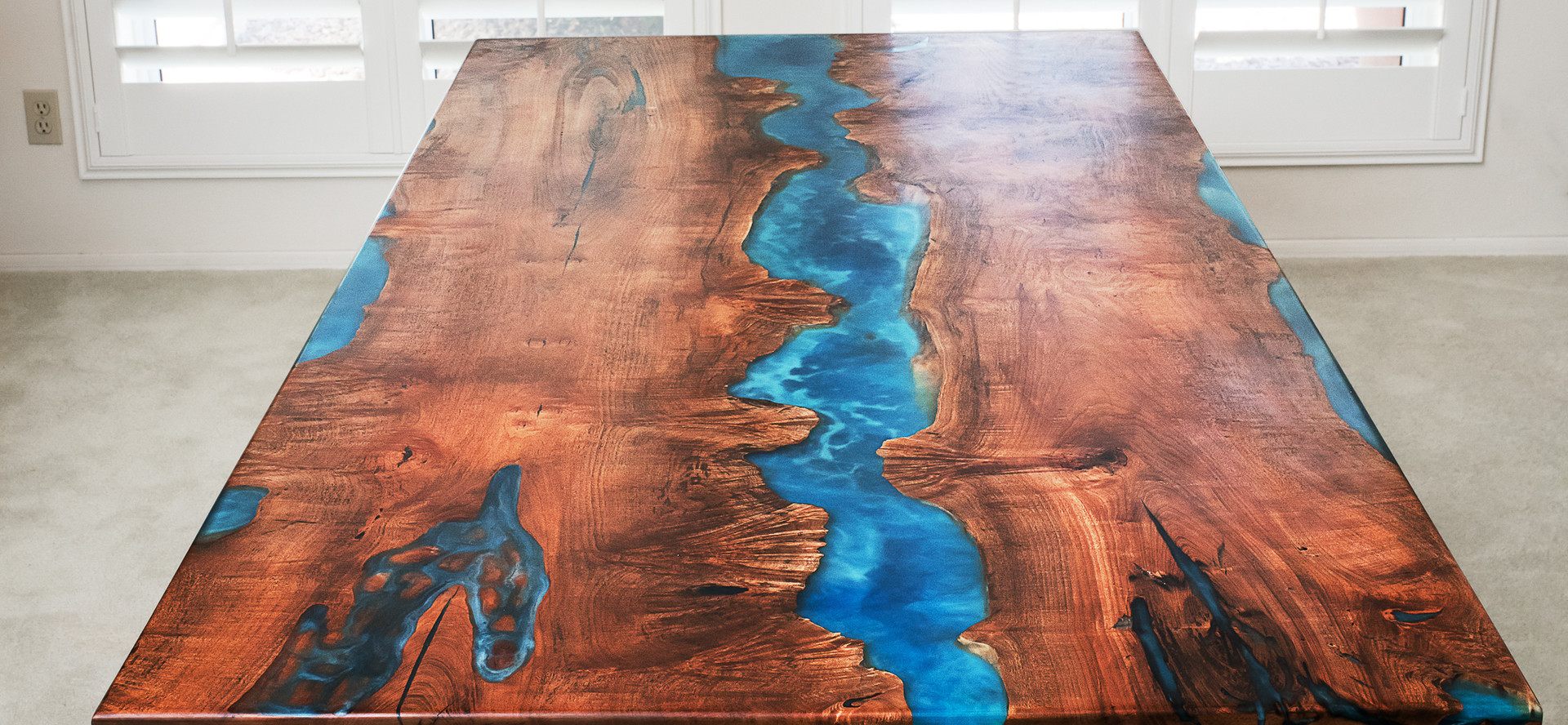 Maple Burl Live Edge Oceanic Flow River Table