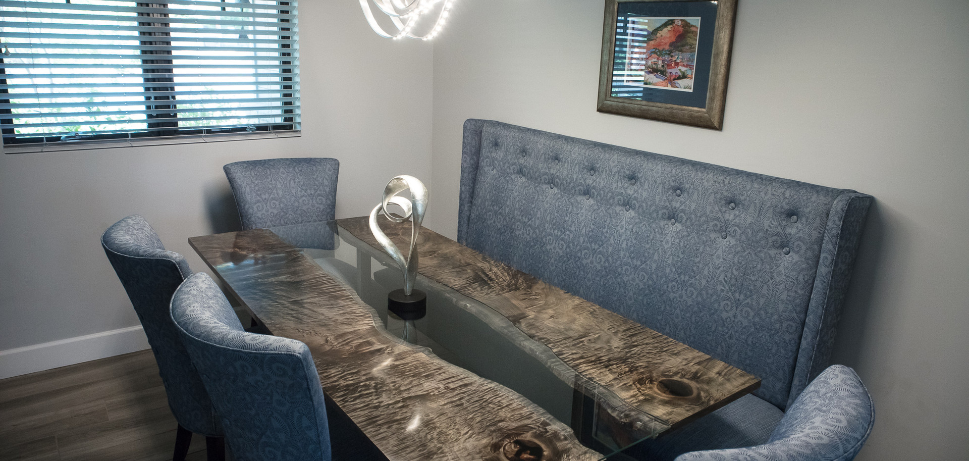 Modern Dining Table, Ebonized Maple Slabs with Glass Inlay River