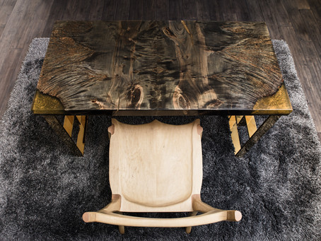 Bookmatched Ebonized Maple Burl 24x50 Desk