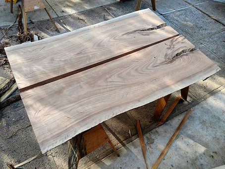 Eucalyptus Live Edge Bookmatched Dining Table
