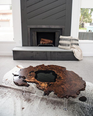"""50"""" Walnut Burl Ring Coffee Table with Smoked Glass Island and Lucite Legs"""