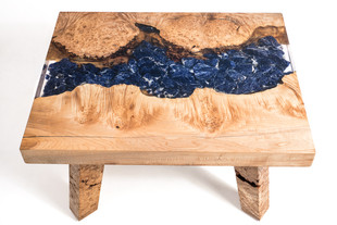 Maple Burl Sodalite Clear Resin Coffee Table