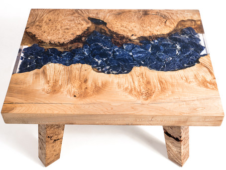 Maple Burl Sodalite River Coffee Table