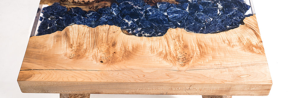 maple burl sodalite river table