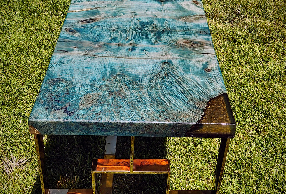 teal and gold maple burl and brass luxury mod slab desk