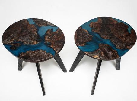 Ebonized Maple Burl Resin-River End Tables