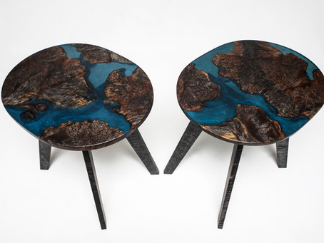 Ebonized Maple Burl Resin-River End Tables
