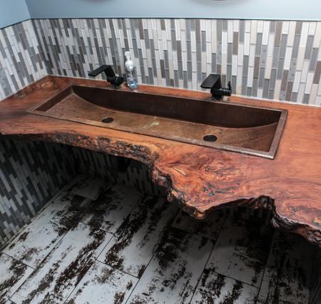 Red Gum Burl Live Edge Slab Float Vanity with Copper Sink