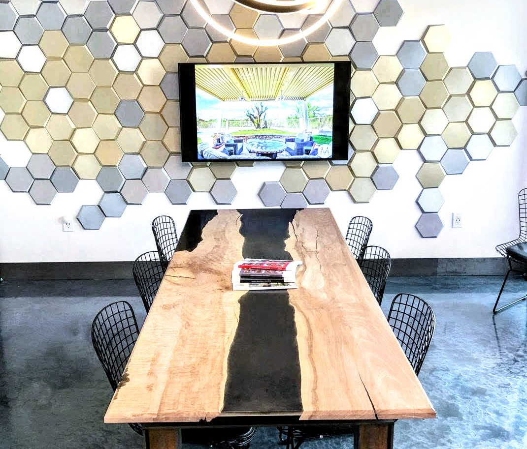 """White Wax Curly Maple """"Space"""" Resin River Conference Table for Modern Shade Co"""