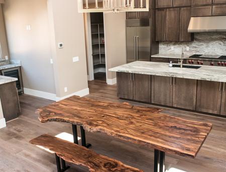 Black Cherry Burl Live Edge Dining Table for Oak Creek Canyon Estate