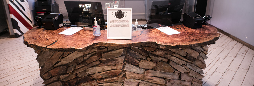 """Red Gum Burl Bookmatched """"Wings"""" Reception Counter"""