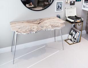 White Waxed Maple Burl Live Edge Desk on Brushed Aluminum Legs