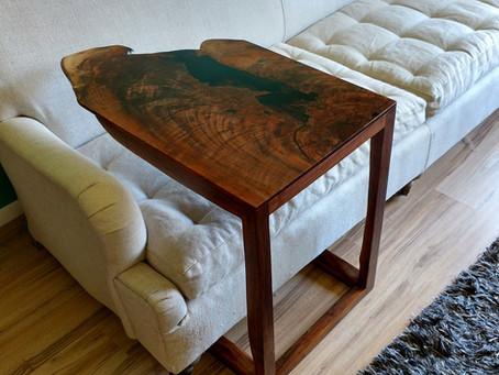 Large Walnut Live Edge C-Table