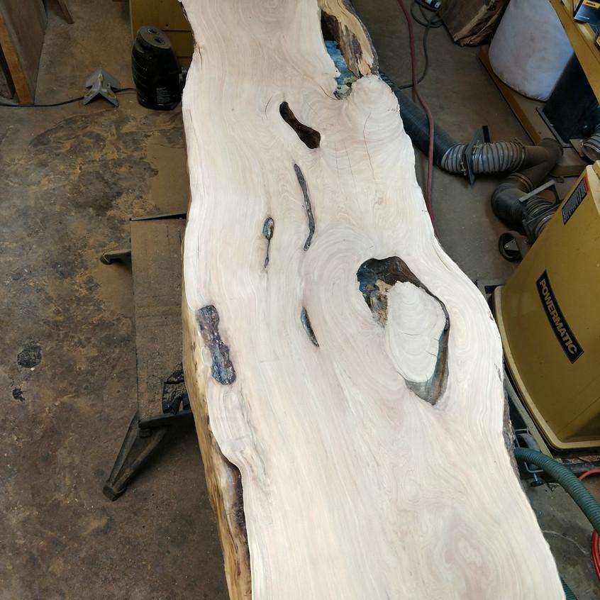reclaimed wood slab alligator juniper live edge