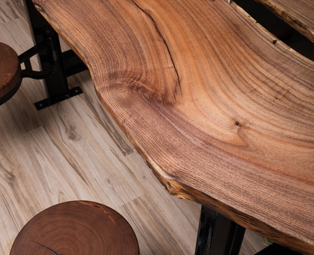 Mesquite bookmatch top with end grain stool tops