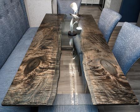 Glass River Table, Ebonized Maple Slabs