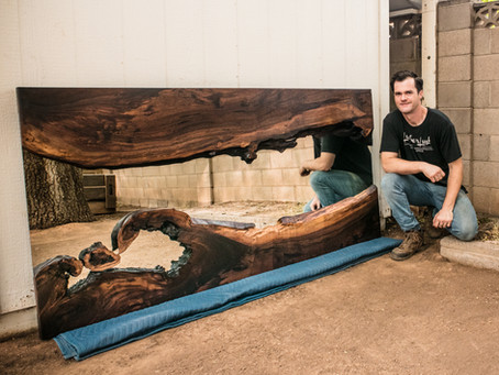"Walnut ""Wave"" River Mirror 40x81"""