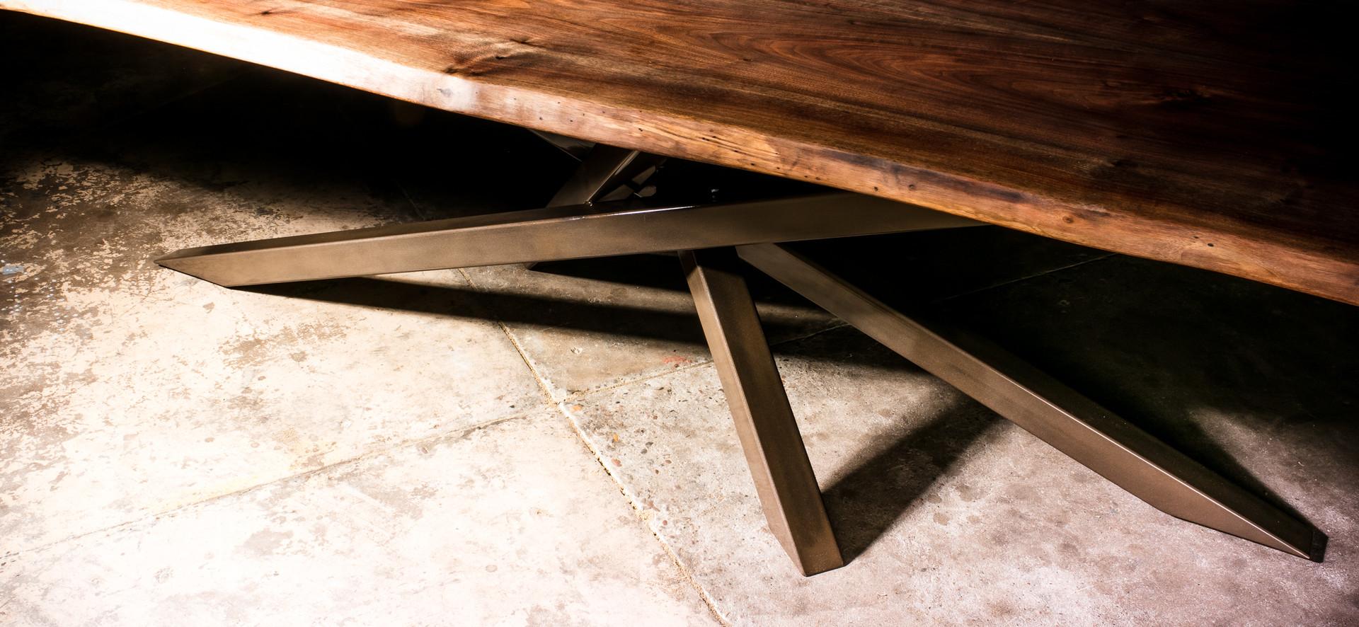 Bronzed Steel Cluster Pedestal Base for Live Edge Walnut Table