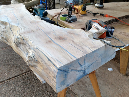 Ebonized Maple Live Edge Bench