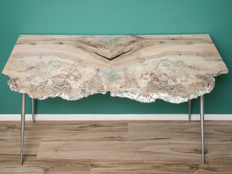 Titanium White Maple Burl Atomic Desk