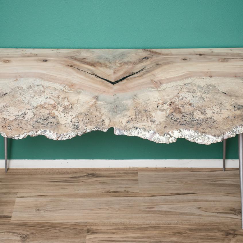 live edge mid mod desk, whitewood maple burl brushed aluminum mid mod legs