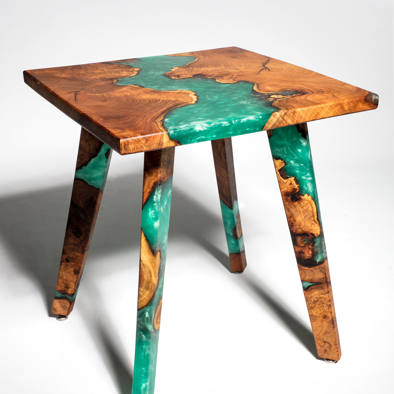 Mesquite Resin River End Table made from reclaimed urban mesquite burl slabs and ecofriendly plant based food safe resin.