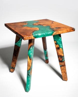 Mesquite Burl Resin River End Table